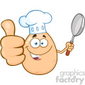 10964 Royalty Free RF Clipart Chef Egg Cartoon Mascot Character Showing Thumbs Up And Holding A Frying Pan Vector Illustration