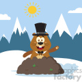 10647 Royalty Free RF Clipart Happy Marmmot Cartoon Mascot Character With Cylinder Hat Waving In Groundhog Day Vector Flat Design With Background
