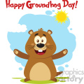 10631 royalty free rf clipart happy marmot cartoon mascot character with open arms and text happy groundhog day vector flat design with background isolated on white gif, png, jpg, eps, svg, pdf