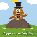 10650 royalty free rf clipart happy marmmot cartoon mascot character with cylinder hat waving in groundhog day vector flat design with background and text happy groundhog day gif, png, jpg, eps, svg, pdf