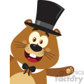 10638 Royalty Free RF Clipart Smiling Marmot Cartoon Mascot Character With Hat Waving From Corner Vector Flat Design