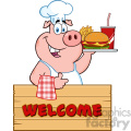 10724 royalty free rf clipart chef pig cartoon mascot character holding a tray of fast food over a wooden sign giving a thumb up vector with text welcome gif, png, jpg, eps, svg, pdf