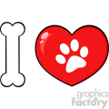 10715 Royalty Free RF Clipart I Love Animals With Bone And Red Heart With Paw Print Logo Design Vector Illustration
