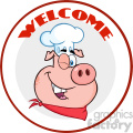 10732 royalty free rf clipart winking chef pig cartoon mascot character circle banner with text welcome vector illustration gif, png, jpg, eps, svg, pdf