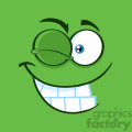 10856 Royalty Free RF Clipart Winking Cartoon Funny Face With Smiling Expression Vector With Green Background