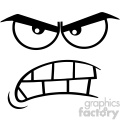 10918 Royalty Free RF Clipart ABlack And White ggressive Cartoon Funny Face With Angry Expression Vector Illustration