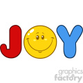 10841 Royalty Free RF Clipart Joy Logo With Smiley Face Cartoon Character Vector Illustration