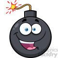 10812 Royalty Free RF Clipart Happy Bomb Face Cartoon Mascot Character With Expressions Vector Illustration