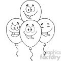 10773 Royalty Free RF Clipart Black And White Four Balloons Cartoon Mascot Character With Expressions Vector Illustration