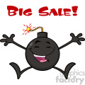 10796 Royalty Free RF Clipart Black And White Happy Bomb Cartoon Mascot Character Jumping With Open Arms Vector Illustration