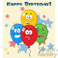 10776 Royalty Free RF Clipart Happy Four Colorful Balloons Cartoon Mascot Character With Expressions Vector With Stars Background And Text Happy Birthday