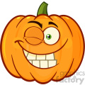 Smiling Orange Pumpkin Vegetables Cartoon Emoji Face Character With Winking Expression