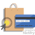 online shopping with credit card vector icon