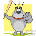 Royalty Free RF Clipart Illustration Angry Gray Bulldog Cartoon Mascot Character Holding A Bat And Pointing Vector Illustration With Background Isolated On White