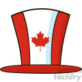 Royalty Free RF Clipart Illustration Canadian Maple Leaf Top Hat Line Cartoon Drawing Vector Illustration Isolated On White Background