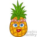 Pineapple Fruit Cartoon Mascot Character Woman Face With Hawaiian Flower Lei Garland Wreath