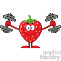 Royalty Free RF Clipart Illustration Smiling Strawberry Fruit Cartoon Mascot Character Training With Dumbbells Vector Illustration Isolated On White Background