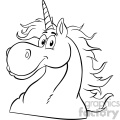 Clipart Illustration Black And White Magic Unicorn Head Classic Cartoon Character Vector Illustration Isolated On White Background