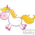 Clipart Illustration Smiling Magic Unicorn Cartoon Mascot Character Running Vector Illustration Isolated On White Background