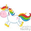 Clipart Illustration Cute Magic Unicorn Cartoon Mascot Character Running Vector Illustration Isolated On White Background 1