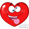 Silly Red Heart Cartoon Emoji Face Character With Expression Vector Illustration Isolated On White Background