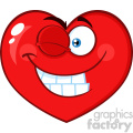 Smiling Red Heart Cartoon Emoji Face Character With Wink Expression Vector Illustration Isolated On White Background