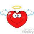 Angel Red Heart Cartoon Emoji Face Character With Wings And Halo Vector Illustration Isolated On White Background