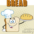 Chef Bread Slice Cartoon Mascot Character Presenting Perfect Bread Vector Illustration Isolated Over Background With Text Bread