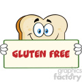 Bread Slice Cartoon Mascot Character Holding A Sign Vector Illustration With Text Gluten Free Isolated On White Background