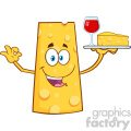 Cheese Cartoon Mascot Character Holding Up A Wine Glass And Wedge Of Yellow Cheese Vector Illustration Isolated On White Background