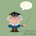 Professor Or Scientist Cartoon Character With Graduate Cap Holding A Pointer Vector Illustration Flat Design Isolated On White Background 1