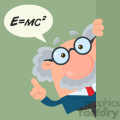 Professor Or Scientist Cartoon Character Looking Around Corner With Speech Bubble And Einstein Formula Vector Illustration Flat Design With Background