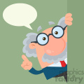 Professor Or Scientist Cartoon Character Looking Around Corner With Speech Bubble Vector Illustration Flat Design With Background