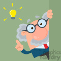 Professor Or Scientist Cartoon Character Looking Around Corner With A Big Idea Vector Illustration Flat Design With Background