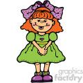small cartoon girl wearing green dress vector art