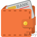 wallet with credit card vector flat icon