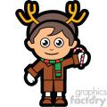 cartoon guy wearing reindeer antlers for christmas vector clip art