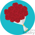 red rose bouquet vector icon on blue background