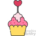 cupcake with heart topper