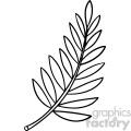 cartoon fern leaf black white vector clipart