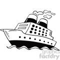 black and white cartoon cruise ship vector clipart