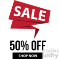 50 percent off sale shop now banner with no border icon vector clipart