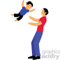 father and son playing vector clipart