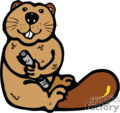 cute little beaver holding a piece of wood gif, eps