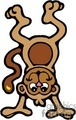 Cartoon monkey upside down