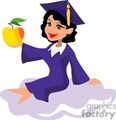 A Girl in Her Blue Cap and Gown Sitting Holding a Golden Apple