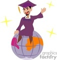 A Man in a Purple Cap and Gown Sitting on a Globe