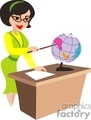 cartoon teacher teaching geography