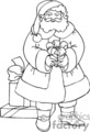 Black and White Santa Holding a Gift