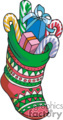 Colorful Christmas Stocking Filled with Presants and Candy Canes